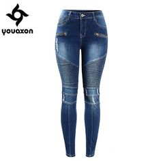 2077 Youaxon Women`s Motorcycle Biker Zip Mid High Waist Stretch Denim Skinny Pants Motor Jeans For Women Motorcycle Jeans, Biker Jeans, Motorcycle Style, Women Motorcycle, Womens Motorcycle Fashion, Scrambler Motorcycle, Motorcycle Accessories, Motorcycles, Denim Skinny Jeans