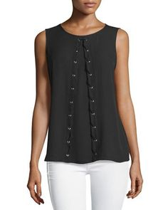 Neiman Marcus Sleeveless Faux Lace-Up Blouse, Black New offer @@@ Price :$94.5 Price Sale $59
