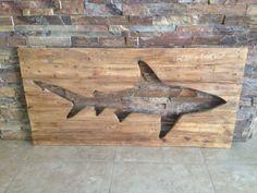 Distressed Shark Pallet Art on Etsy, $75.00