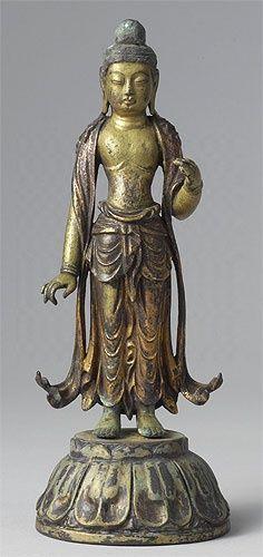 Standing Kuan Kin, the bodhisattva of compassion. Korea, Unified Silla dynasty. Gilt bronze
