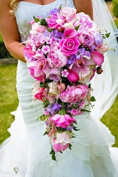 45 Gorgeous Cascading Wedding Bouquets ♥ Modern cascading wedding bouquets are different from traditional round bouquets and look stunning with roses, orchids, peonies, lilies and dahlias. #wedding #bride #weddingforward #weddingbouquet Purple Wedding, Spring Wedding, Floral Wedding, Wedding Colors, Dream Wedding, Wedding Blog, Wedding Ideas, Wedding Bride, Wedding Venues