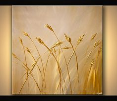 Modern Landscape Abstract Gold on Cream Sheaves by OsnatFineArt