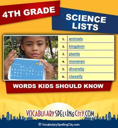 Use this science word list with our interactive vocabulary games to supplement fourth grade science curriculum.