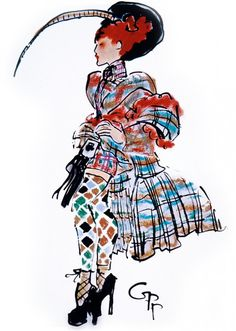 Anglomania – Vivienne Westwood I love how this has been drawn (with a real essence of fabrics and colour)
