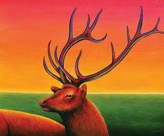 Elk painting: acrylic on canvas 61cm x 50cm. Australian artist