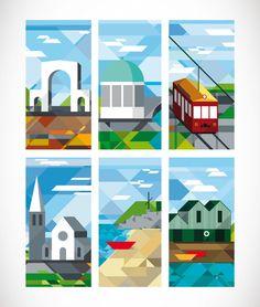Christchurch City Street Banners by Hamish Childs, via Behance Banner Design Inspiration, Design Ideas, Street Banners, Pole Banners, Nz Art, Kiwiana, Brick Lane, Environmental Design, Geometric Art
