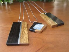 Sterling Silver Chain Necklace - Wood - Inlay - Ebony - Black - Spring Fashion - Simple - Layering Piece, Sterling - Inlaid on Etsy, $65.00