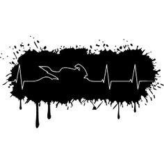 Farbklecks Biker Herzschlag - Eine Herzfrequenz mit einen Motorrad als Herzschlag auf eine Farbklecks.