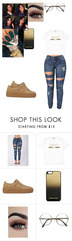 """""""Untitled #101"""" by mcoats67 ❤ liked on Polyvore featuring Gucci, Puma, MICHAEL Michael Kors, OPI, ZeroUV and Versus"""