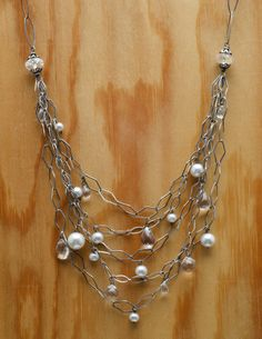 Oxidized silver with quartz and freshwater pearls. Stunning! www.calliope-jewelry.com