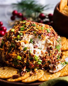 The Ultimate Bacon Ranch Cheese Ball is absolutely LOADED with bold flavors, and a perfect crowd-pleasing appetizer for any party! Skewer Appetizers, Appetizers For A Crowd, Healthy Appetizers, Appetizer Recipes, Appetizer Ideas, Holiday Appetizers, Holiday Recipes, Bacon Ranch Cheese Ball Recipe, Ranch Recipe