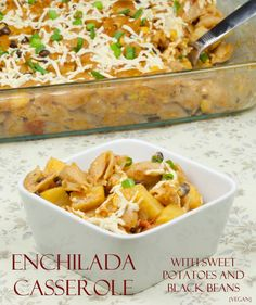Enchilada Pasta Casserole with sweet potatoes and black beans is a little spicy, a little sweet, and super filling.