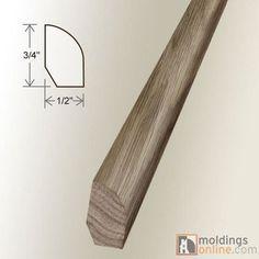 """Moldings Online 0.5"""" x 0.75"""" x 96"""" White Oak Base Shoe in Obsidian"""