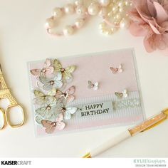 """Creative Cards Using the Kaisercraft 6 1/2 inch Paper Pad: """"Happy Birthday Card by Kylie Kingham Design Team member Kaisercraft Official Blog featuring the March 2018 Fairy Garden collection. Learn more at kaisercraft.com.au - Wendy Schultz - Kaisercraft Projects."""
