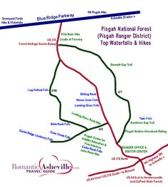 Pisgah Forest Waterfall Map, and scenic loop drive to Asheville Monongahela National Forest, Shawnee National Forest, The River, Diablo Lake, Forest Waterfall, Waterfall Hikes, Power Trip, Mountain Vacations, Mountain Hiking