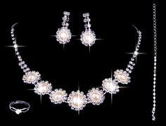 Czech rhinestones pearls wedding necklaces bracelets rings earrings ...