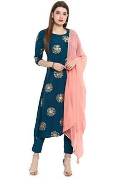 Janasya Indian Tunic Tops Crepe Kurti Set with Dupatta for Women Care Instructions: First wash dry clean thereafter handwash Kurta Fabric : Crepe|| Bottom Fabric : Crepe || Dupatta Fabric : Georgette Foil Print A-Line Kurta With Narrow Pant And Dupatta Party Wear Colour Declaration : Placement and color of print may vary, as this is foil print and it reflects different colors in variable lightning conditions.[Remark : The Model ( height 5'8) is wearing a size S,Accessories is just for present Anarkali Kurti, Patiala, Churidar, Salwar Kameez, Women Salwar Suit, Salwar Suits, Punjabi Suits, Indian Tunic Tops, Pola Lengan