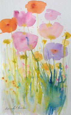 Original Watercolour Painting - Soft Poppies - Signed Annabel Burton