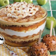 Colossal Caramel Apple Trifle from yellow cake mix, milk, vanilla pudding mix, apple pie spice, caramel topping, apple pie filling and cool whip - oh my