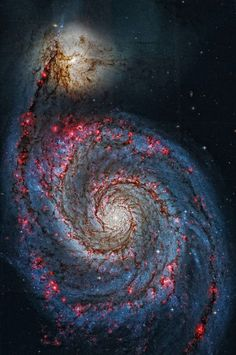 "Hubble Space Telescope Supermassive Black Hole in a ""Small"" Galaxy, Stuart Rankin Edited Chandra Space Telescope image of the Whirlpool Galaxy Cosmos, Whirlpool Galaxy, Space Photos, Space Images, Outer Space Pictures, Hubble Space Telescope, Space And Astronomy, Constellations, Telescope Pictures"