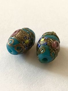 macrame bead tapestry bead BIG HOLE bead rock like glass bead gem stone glass bead lampwork bead Italian glass bead large hole bead