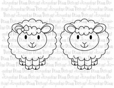Digital Stamp  Cute Lambs by paperaddictions on Etsy