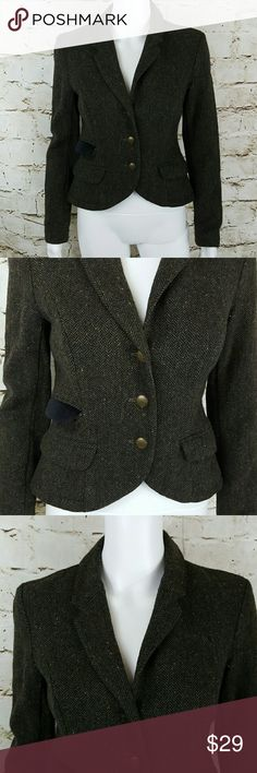 "Victoria's Secret London Jean Blazer Very nice tweed blazer front buttons and adjustable back front flap pockets in has a velvet flap fully lined 18"" across from armpit to armpit 22"" long from shoulder to hem charcoal color with flecks of yellow and red Victoria's Secret Jackets & Coats Blazers"