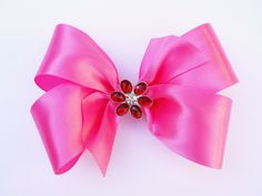 Pink and Red Hair Bow  Girls Hair Bow  by MissLottiesBoutique