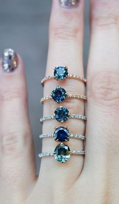 Unique Sapphire Engagement Rings by S. Kind & Co. Available for last minute vacation suggestions! Unique Sapphire Engagement Rings by S. Kind & Co. Available for last minute vacation suggestions! Ring Set, Ring Verlobung, Jewelry Rings, Jewelry Accessories, Fine Jewelry, Jewlery, Unique Rings, Beautiful Rings, Ring Designs