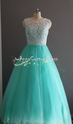 Long+Mint+Green+Lace+Prom+Dress/Custom+Wedding+by+AnnaCustomDress,+$109.00