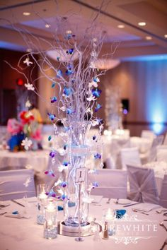 Centerpiece Blue and Silver