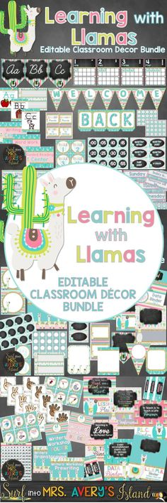 Welcome your students back to school with this editable bundle of llama themed classroom decor!  Teachers and students will love these editable back to school essentials!  Click the link to check out these bulletin board ideas, classroom management posters, bin labels, bunting, and so much more!