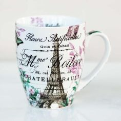 "Bring the sophistication of Paris to your teatime with this chic mug. Features a vintage Parisian design.DetailsMaterialPorcelainCapacity13 ozDimensions3.25"" W x 4.25"" HCare InstructionsDishwasher safe. Microwave safe.Country of OriginChina"