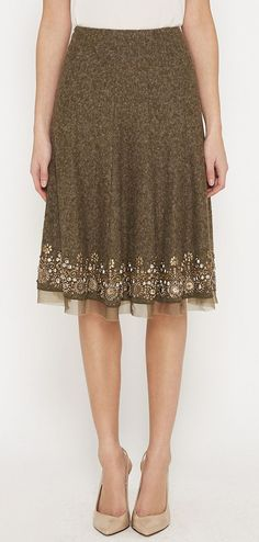 Oscar de la Renta Olive Grey Skirt