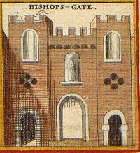 Print of Bishops Gate c. 1650 -  The heads of criminals on spikes were displayed on this bridge.