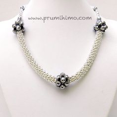 Silver and hematite kumihimo necklace by Pru McRae