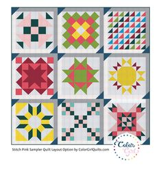 Sensational! Stitch Pink Sampler Layout Design – Color Girl Quilts by Sharon McConnell Quilting Tips, Quilting Projects, Quilting Designs, Pink Quilts, Girls Quilts, Quilt Patterns Free, Pattern Blocks, Sewing Patterns, Sampler Quilts