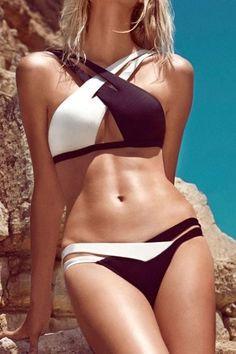 Crisscross Double Colored Bikini Swimsuit