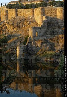 Old walls and Tajo river. Toledo. Castilla la Mancha. Spain