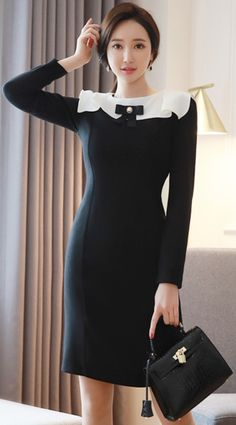 StyleOnme_Classic Bertha Collar Ribbon Set Dress #black #white #classic #feminine #koreanfashion #kstyle #kfashion #dress