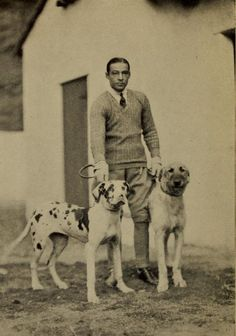 Valentino and his dogs-I've watched some of his movies.  I can see why women gravitated to him!