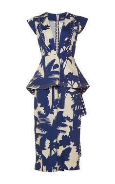 Palmtree Shadow Peplum Dress by JOHANNA ORTIZ for Preorder on Moda Operandi