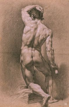 Awesome Lesson to Learn from this Amazing Anatomy Drawing Here, With Lighting and Shadows Male Nude study. 19th.century. Juan Adin Morlan. Spanish. 1741-1816. pencil and pastel on paper.