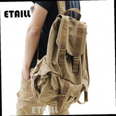 44.69$  Watch here - http://alikip.worldwells.pw/go.php?t=32697044024 - Casual Men Backpacks Fashion Vintage School Bags Canvas Rucksack Men's Daypacks Famous Backpack Brand Luxury Sac a Dos Homme 44.69$