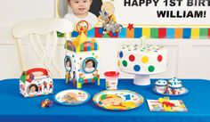 Caillou 1st Birthday Party Table Wear & Personalized Photo Banner