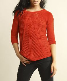 Take a look at this Red Sheer Loose-Knit Sweater by Young Threads on #zulily today! Loose Knit Sweaters, Red Sweaters, Misses Clothing, Eyelet Lace, Pullover, Knitting, My Style, Casual, Sleeves