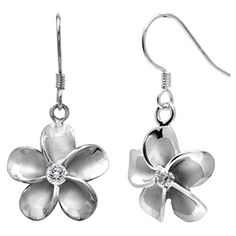 Sterling Silver Plumeria Hook Earrings with CZs 14mm ** Learn more by visiting the image link.(This is an Amazon affiliate link and I receive a commission for the sales) #Earrings