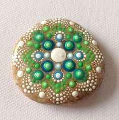 Big Dot Art Mandala Painted Stone Green Gift  Decoration Painted rock Beachstone