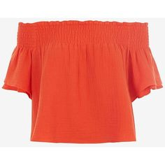 Apiece Apart Off The Shoulder Crop Top: Orange ($169) ❤ liked on Polyvore