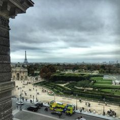 Drifting from the art looking out a #window at the #view over #Paris. A distant look towards the #EiffelTower from the second floor of the #Louvre #museum #Paris (at Musée du Louvre)